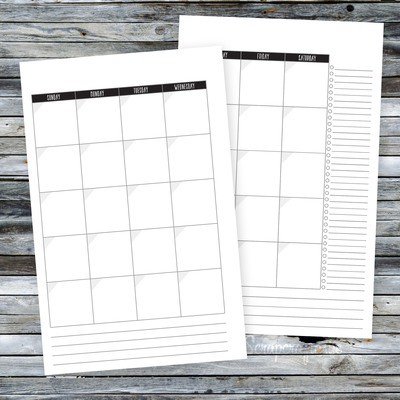 Undated Black Header Half Page Month on Two Pages (MO2P) Printable Planner Insert