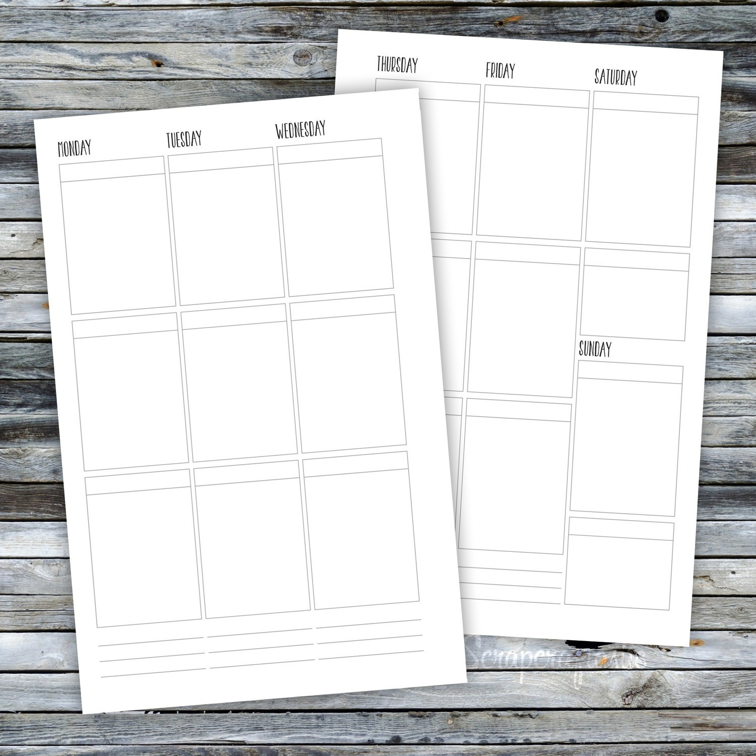 HALF LETTER TN or RINGS - Week On Two Pages (WO2P) Printable Planner Inserts