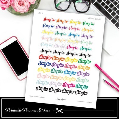 Sleep In (SayIt) Printable Planner Stickers