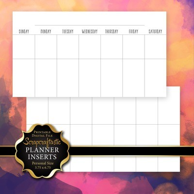 Undated Personal Size Horizontal Month on Two Pages (MO2P) Printable Planner Insert