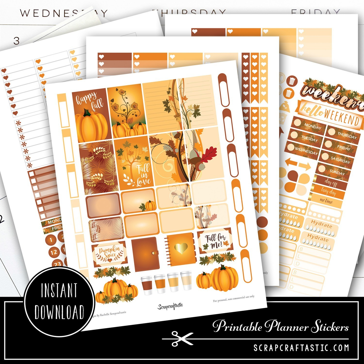 Pumpkin Spice Printable Planner Stickers