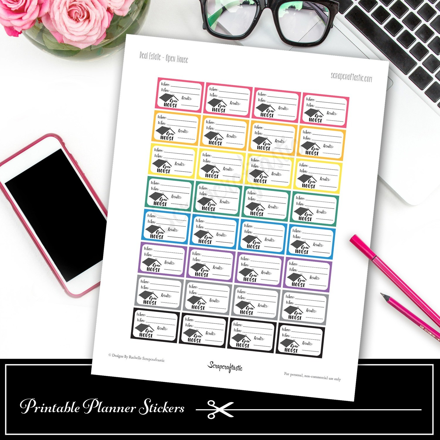 Real Estate Open House Printable Planner Stickers - Half Box