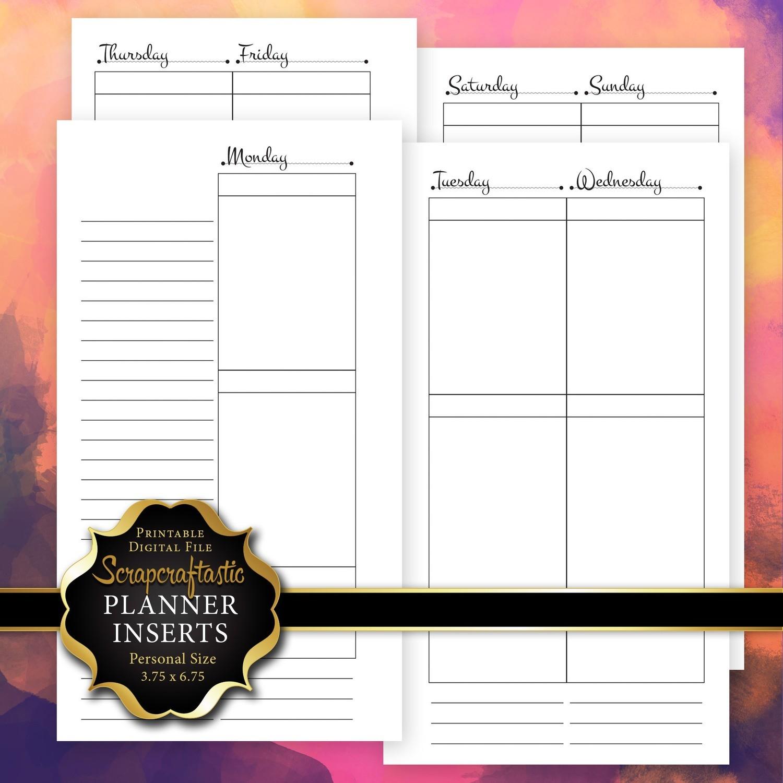 Planner Printable Insert Refill Undated WO4P Personal Size- Filofax Kikki K ColorCrush Erin Condren Size Full Boxes & Half Boxes