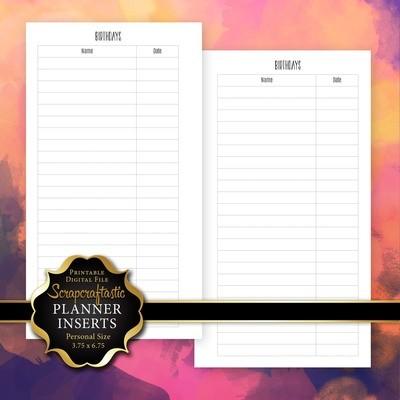 Birthday Log Printable Personal Planner Insert