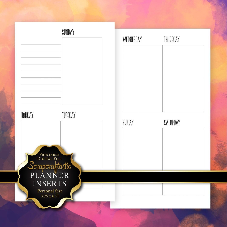 Planner Printable Insert Refill Sunday Start Undated WO2P Personal Size - Filofax Kikki K Erin Condren Size Oversized Full Boxes