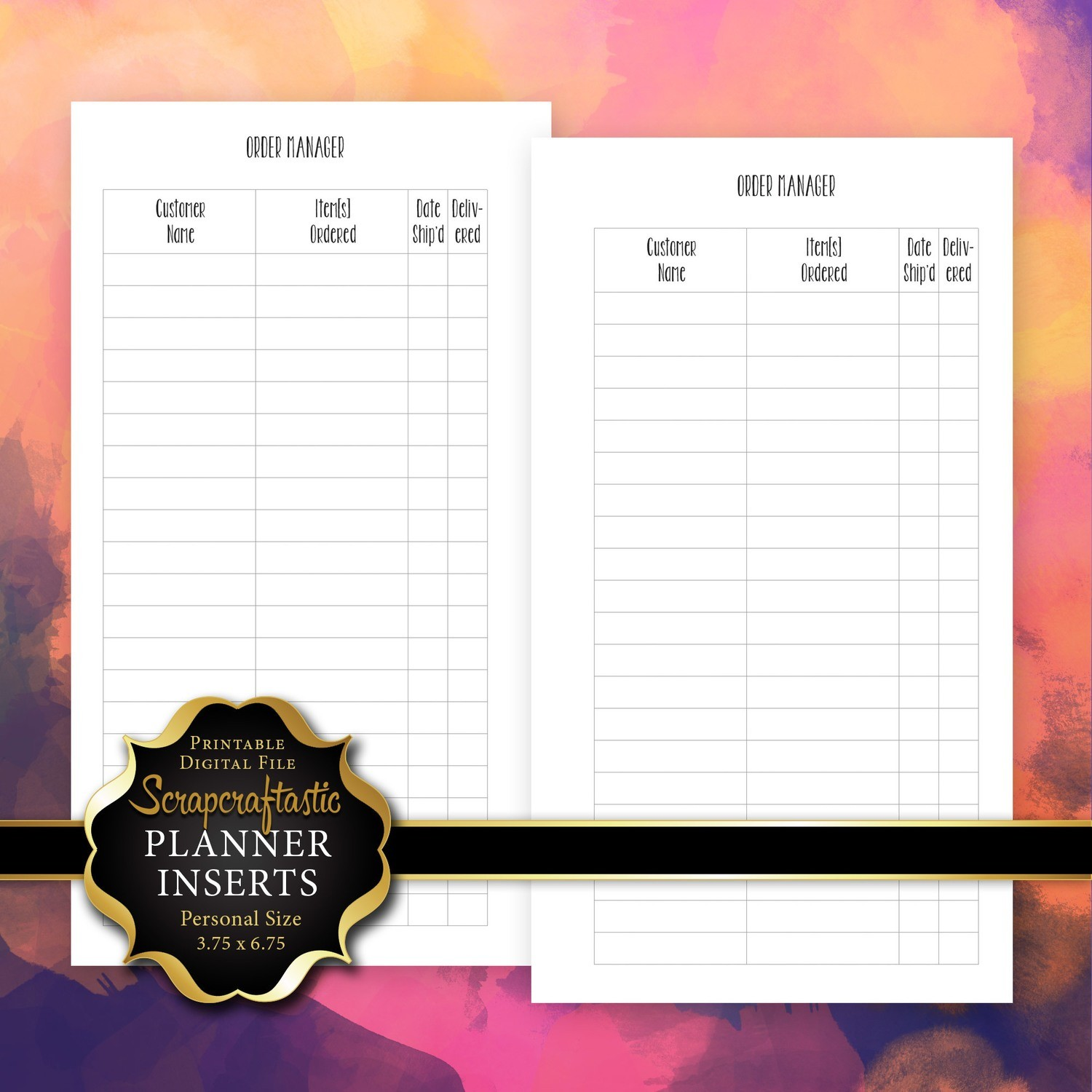 Order Manager Personal Size Printable Planner Inserts
