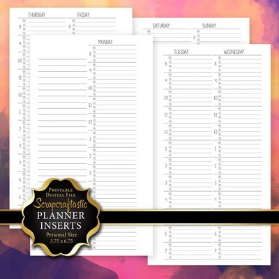 WO4P Quarter Hour Personal Printable Planner Insert