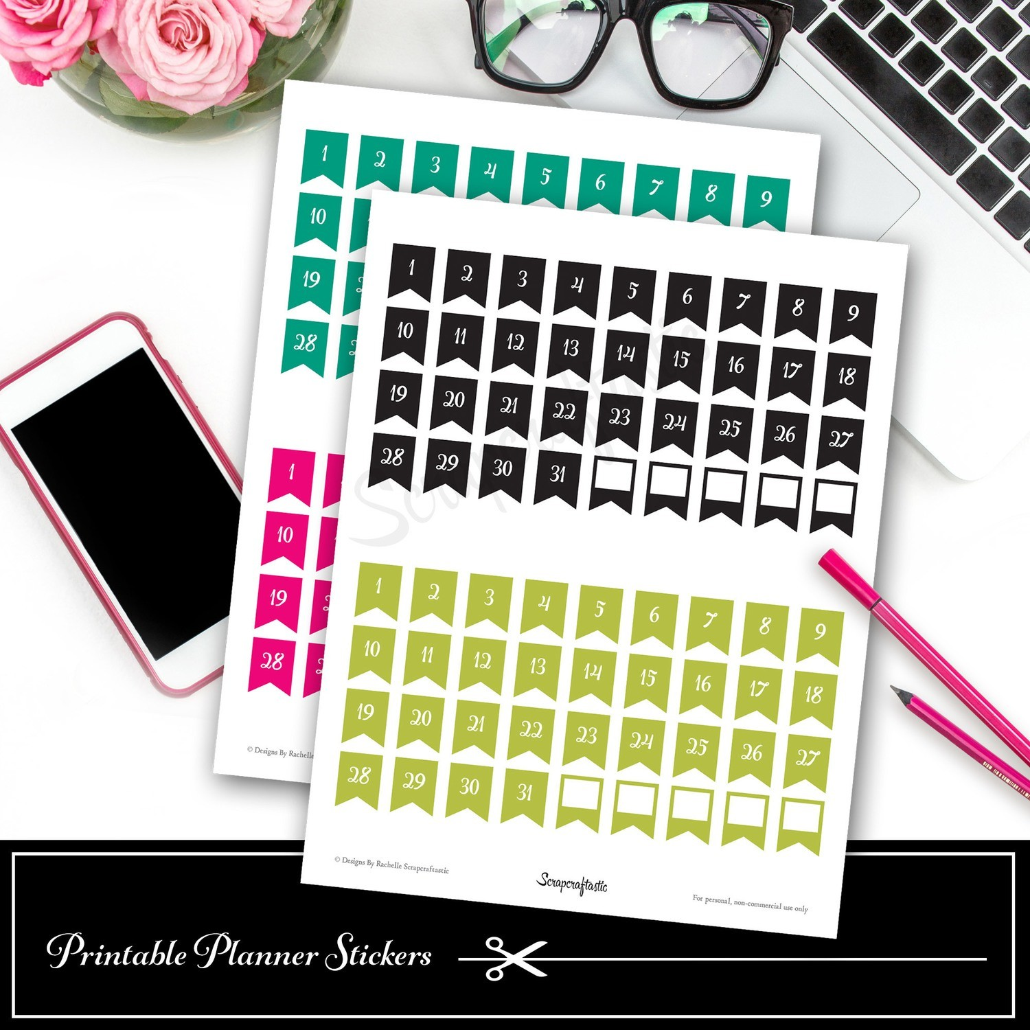 Planner Pro DIY Calendar, List and Monthly Challenge Numbered Printable Planner Stickers  Flags Only