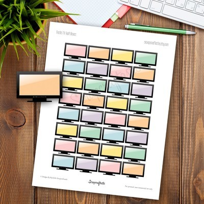 Pastel TV Half Box Printable Planner Stickers for any Planner | Mambi Happy Planner, Erin Condren, Kikki-K, Filofax, ColorCrush, Carpe Diem