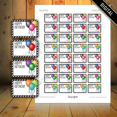 Happy Birthday Balloon Half Box Printable Planner Stickers for Paper Planners, Agendas and Organizers | Mambi  Happy Planne, Erin Condren