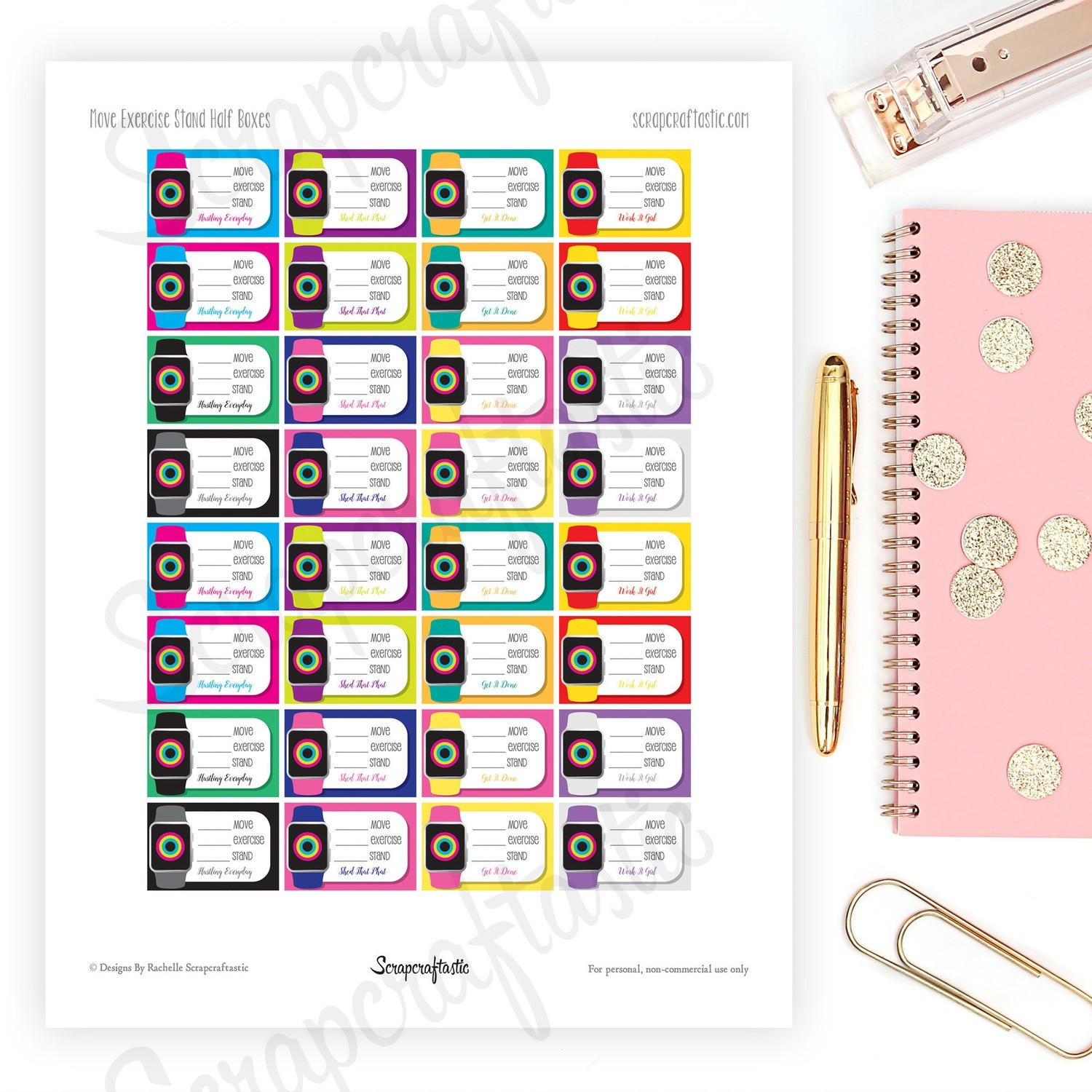 Fitness Watch Half Box Printable Planner Stickers