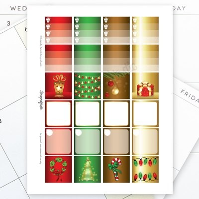 Festive Christmas Monthly Layout Printable Planner Stickers for the Classic MAMBI Happy Planner