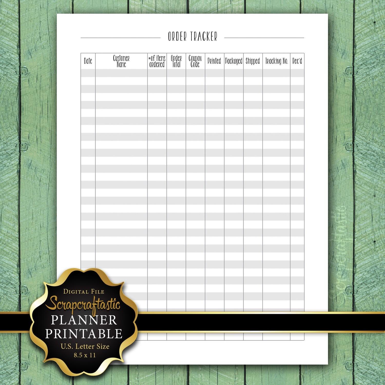 Order Tracker Letter Size Planner Printable