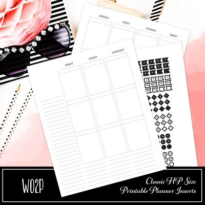 CLASSIC DISC -EC Style Week On Two Pages (WO2P)  Size Printable Planner Inserts