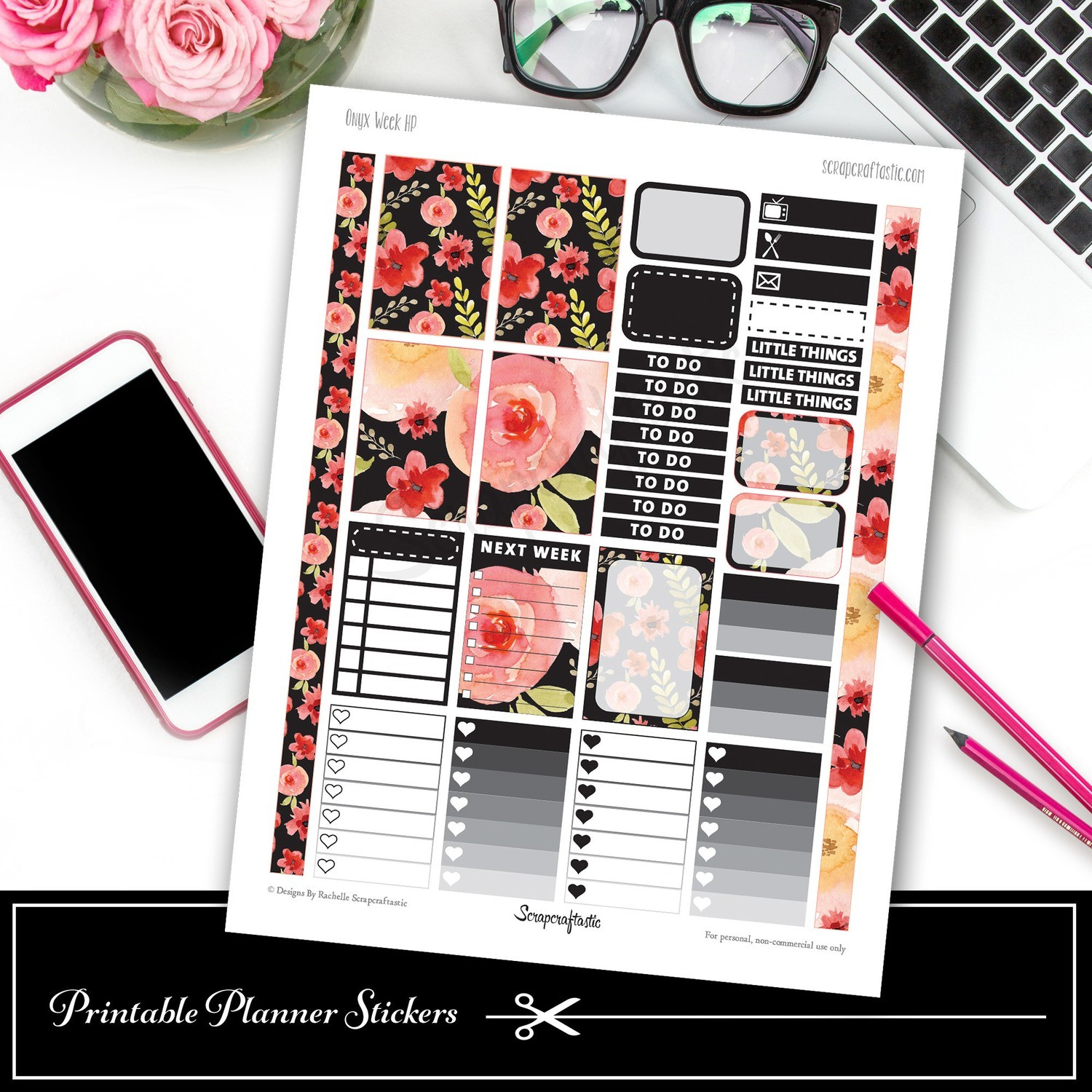 Onyx Week HP Printable Planner Stickers
