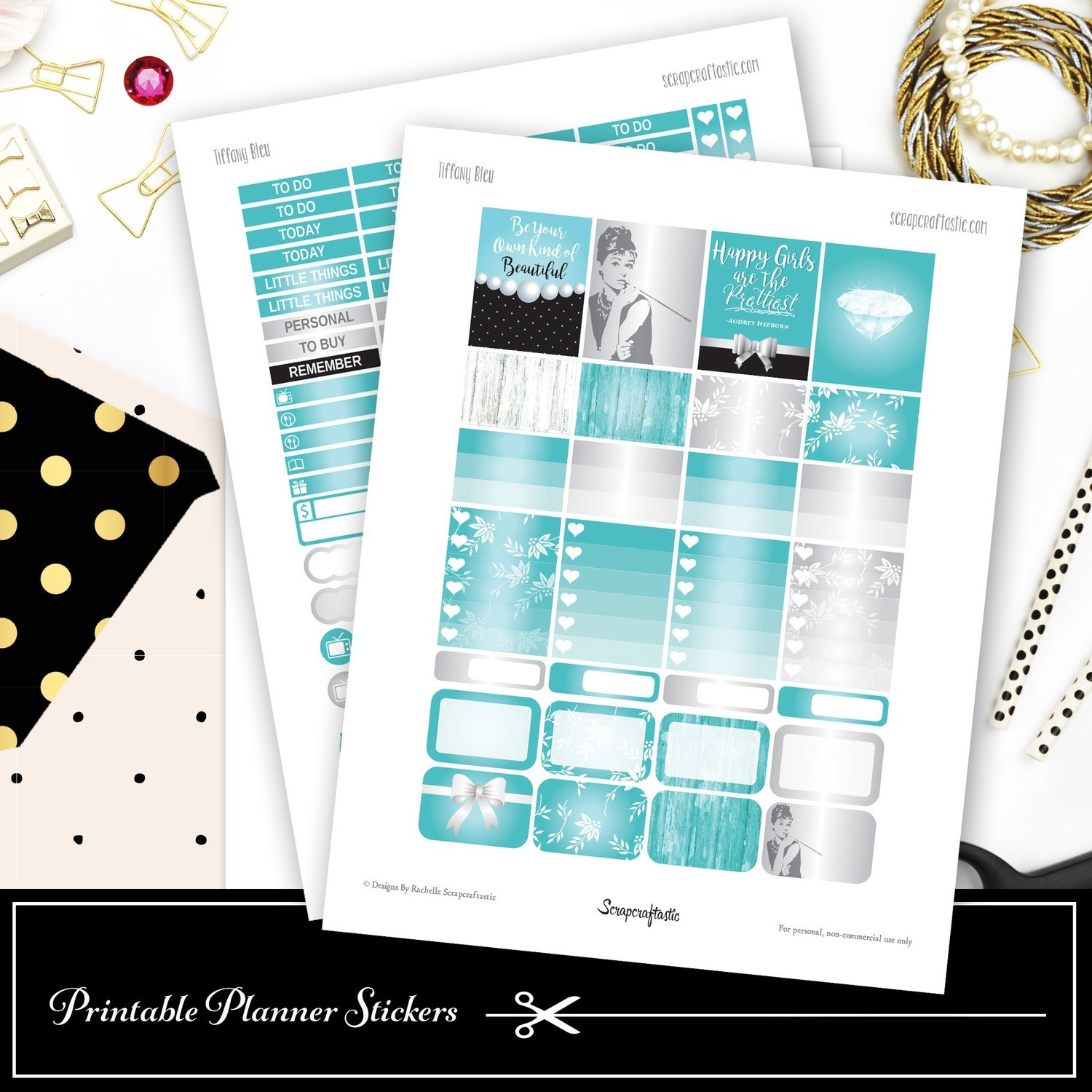 Tiffany Bleu Printable Planner Stickers