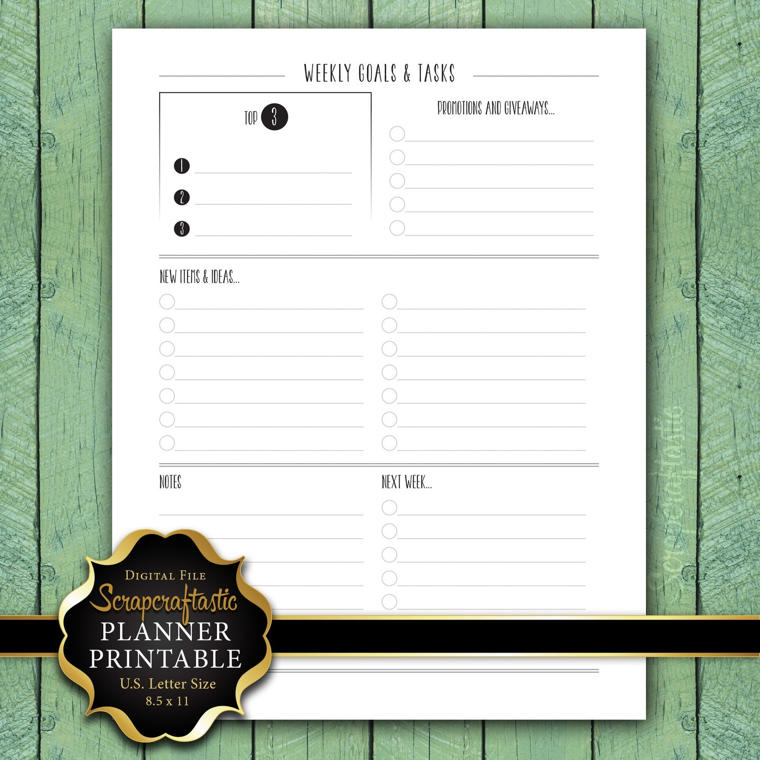 Weekly Goals & Tasks Letter Size Planner Printable Insert