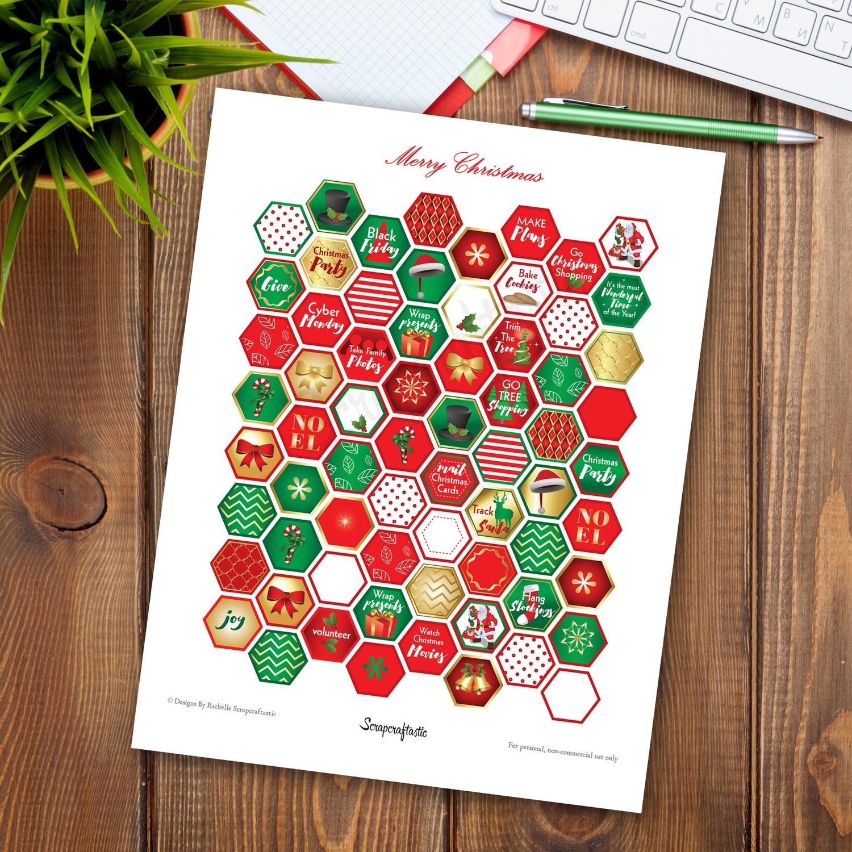 Christmas Traditions Hexagon Printable Planner Stickers for Happy Planner, Erin Condren, Filofax, Carpe Diem, Kikki-K