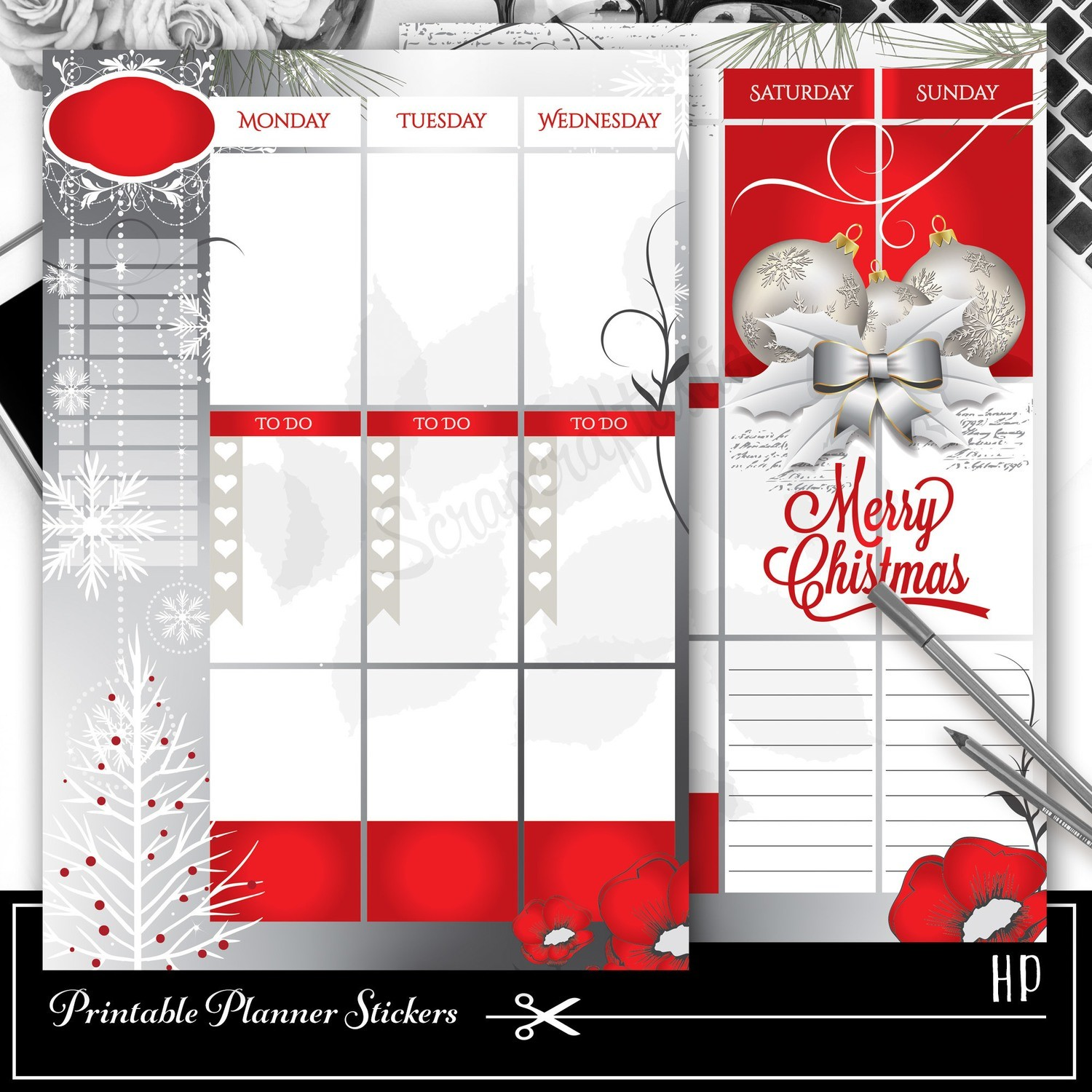 CLASSIC DISC - Red Christmas Week Planner Spread Printable Planner Sticker Overlay for classic size Mambi Happy Planner