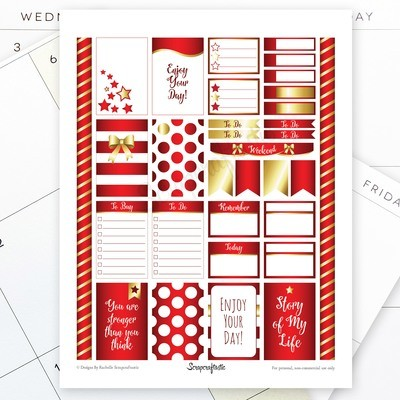 All Crimson Pro Printable Planner Stickers for the Classic MAMBI Happy Planner