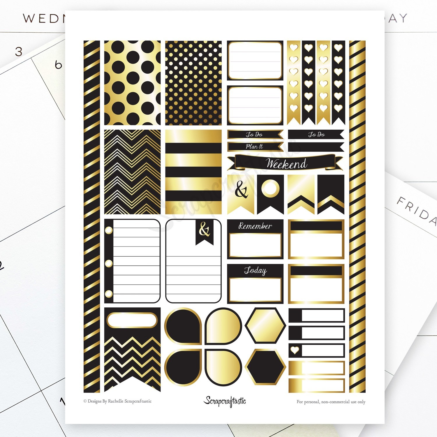 Onyx & Gold Printable Planner Stickers for MAMBI Happy Planner