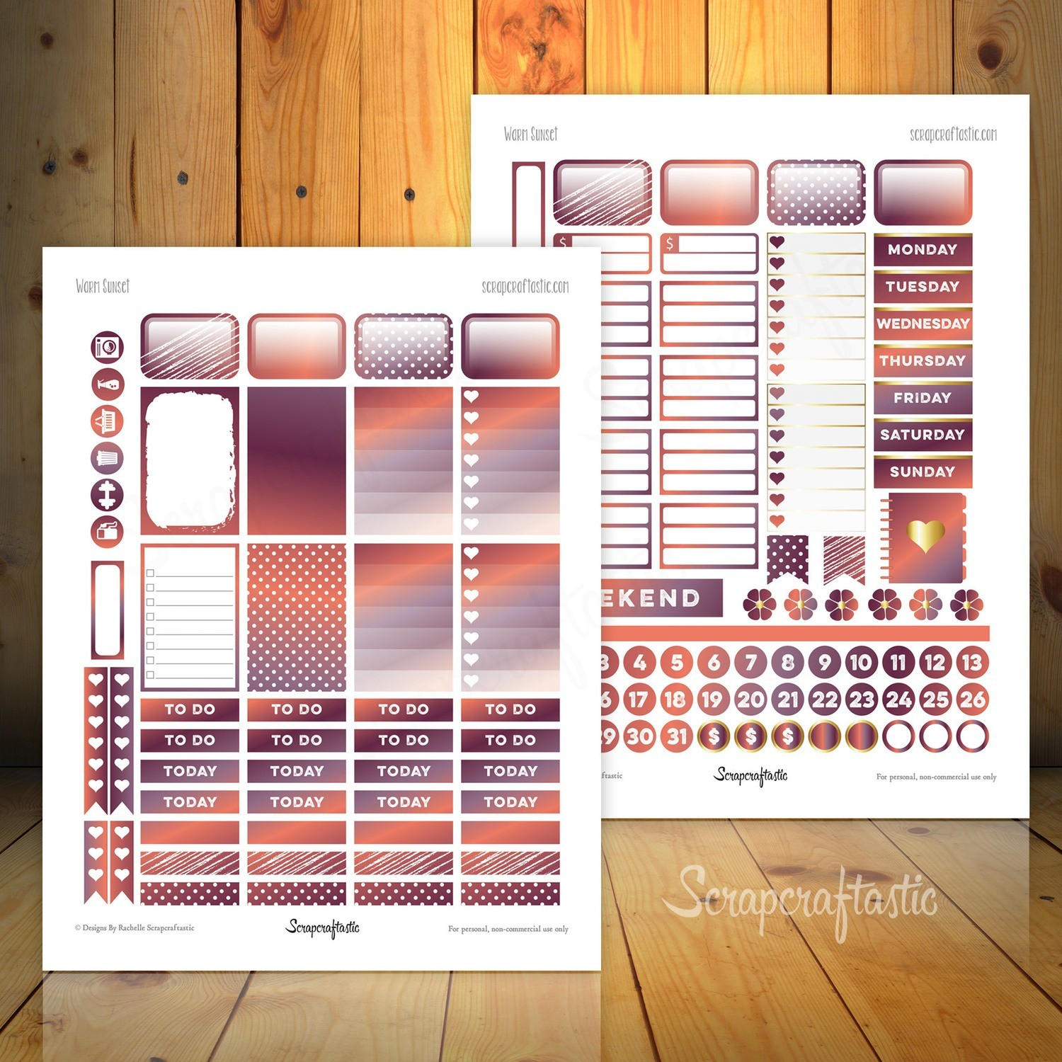 Warm Sunset Printable Planner Stickers fit the Mambi Happy Planner
