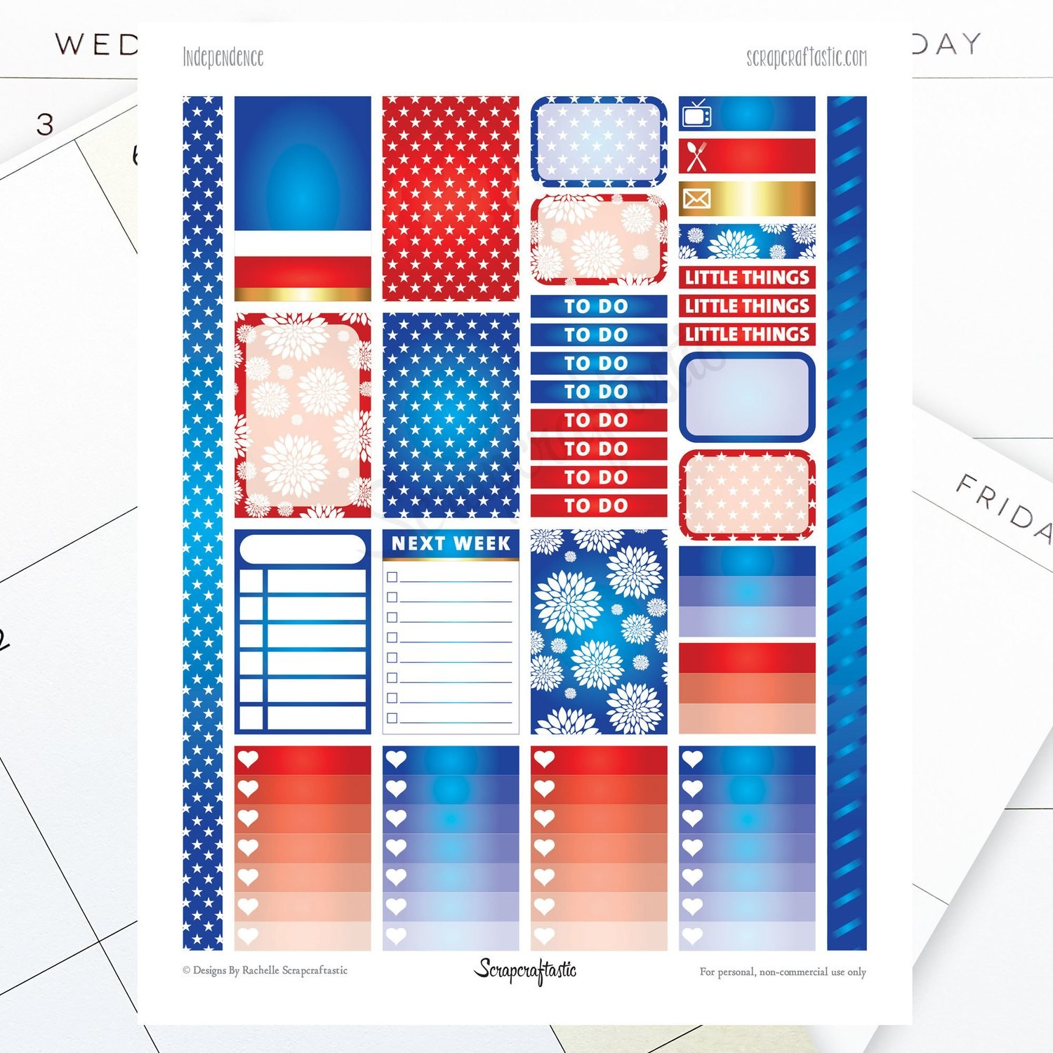 Independence Printable Planner Stickers for the Classic MAMBI Happy Planner