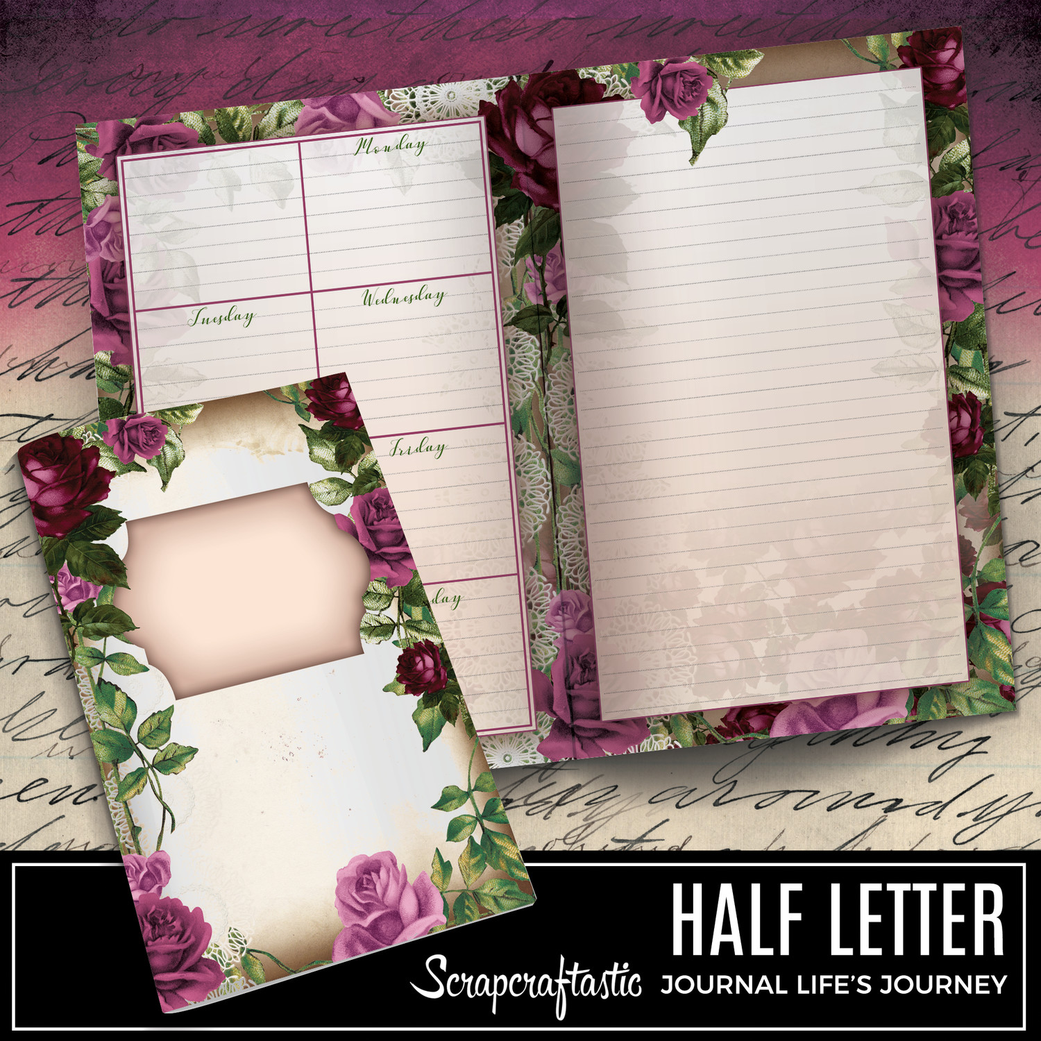 HALF LETTER - Deep Floral Vintage Printable Undated Weekly Journal