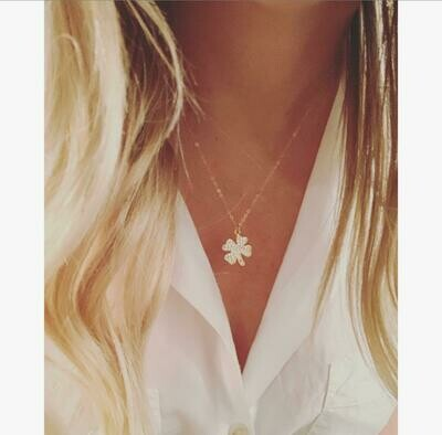 Pave Four Leaf Clover necklace