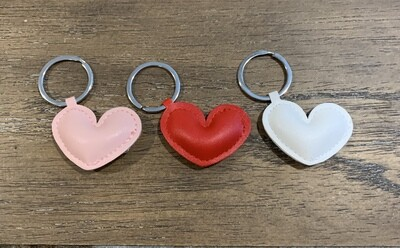 Vegan leather heart key chain
