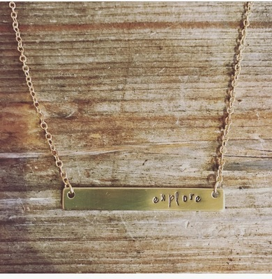 One Little Word horizontal bar necklace