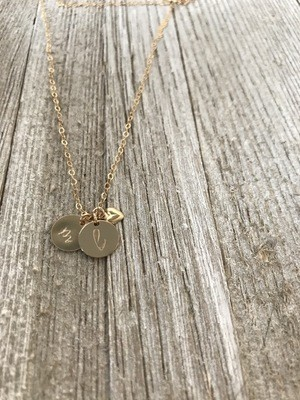 Mini Initial disc necklace - the Nora