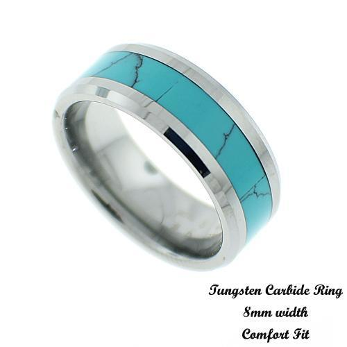 Men's Blue Turquoise Tungsten Band