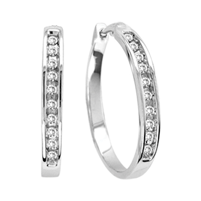 0.50CTW Diamond Hoop Earrings