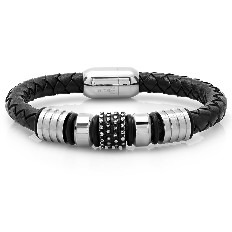 Men's Leather/Stainless Steel Bracelet