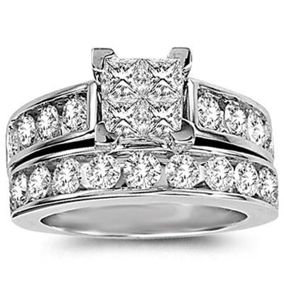1CTW Princess Cut Diamond Wedding Set 10KW