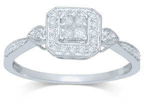 0.25CTW Princess Diamond Ring 14KW