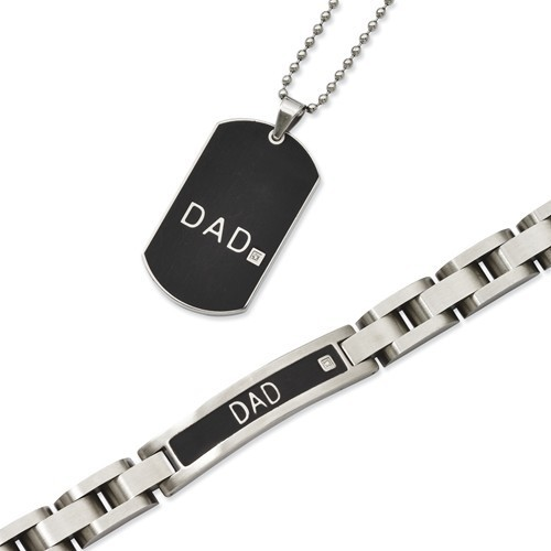 Stainless Steel Black Plated DAD Bracelet and Necklace Set