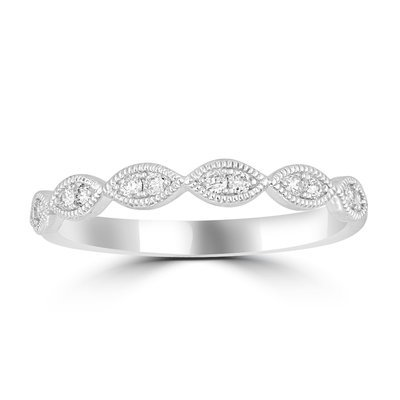 1/6Ctw Diamond Stackable Ring 14KW