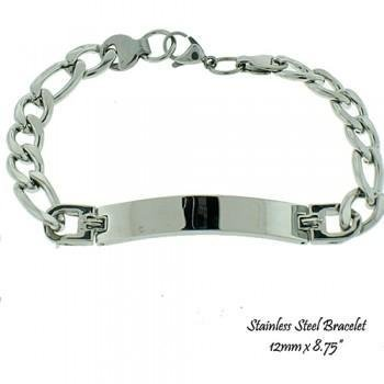 Men's Stainless Steel ID Bracelet 8.75""