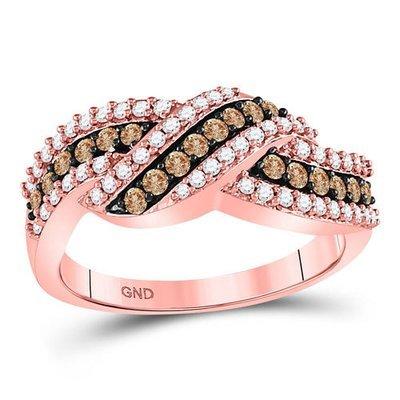 0.75Ctw Brown/White Diamond Ring 10K Rose Gold