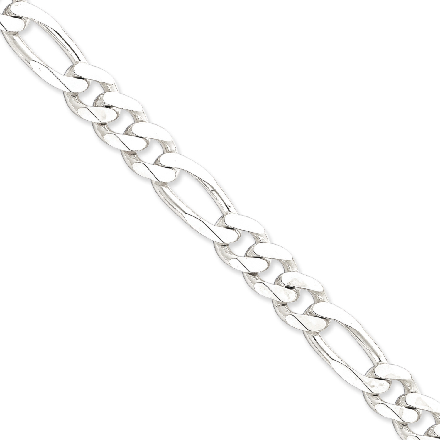 11MM Silver Figaro Link Chain