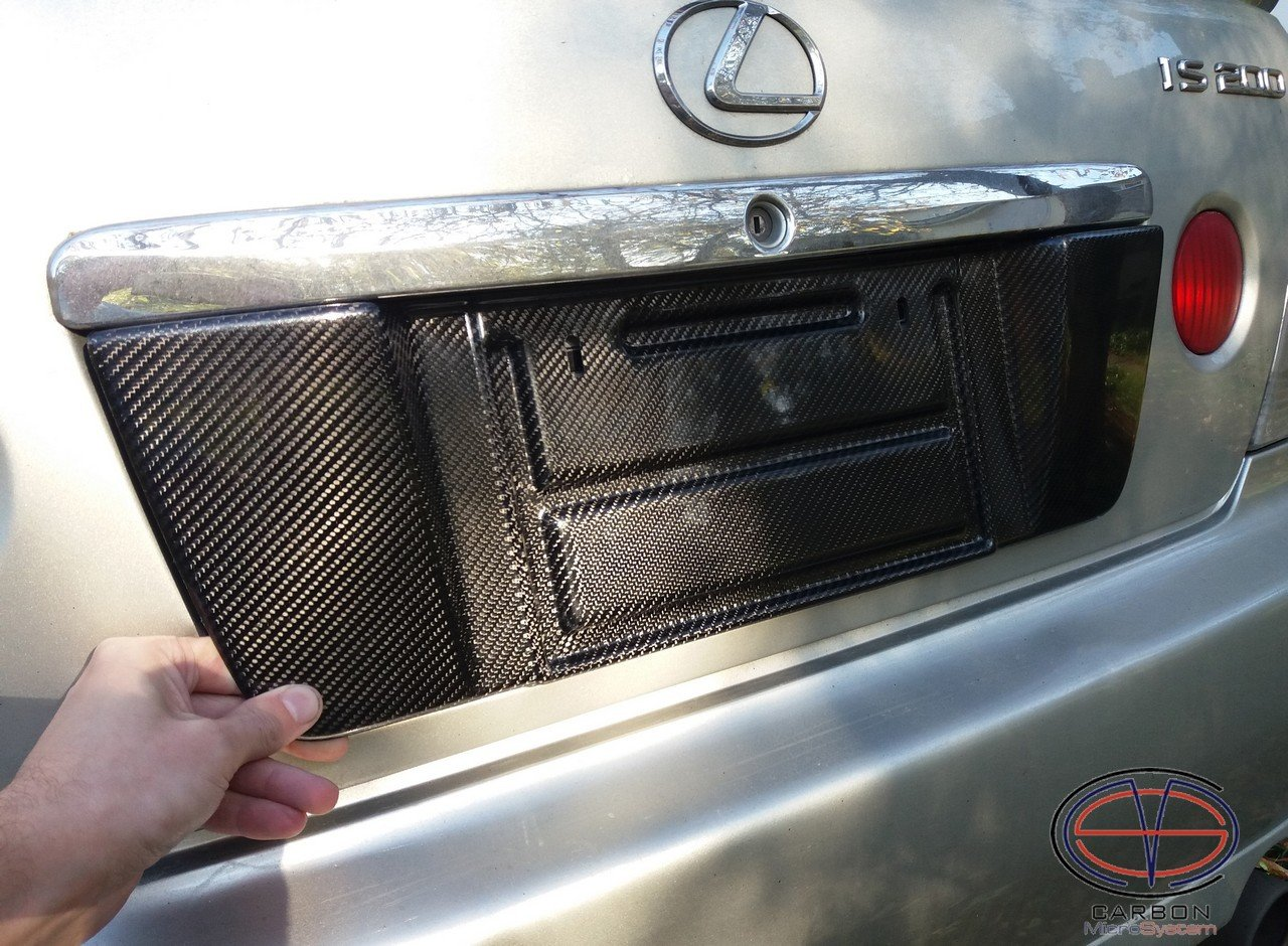 Short number plate panel surround from Carbon Fiber for Lexus is200, is300
