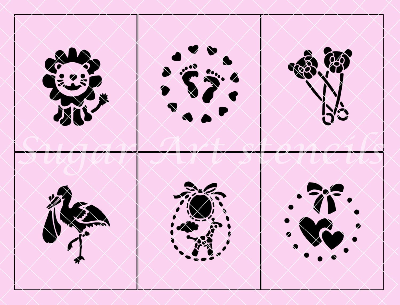 04594 Baby Shower Stencils Set Of 6 Designs NW02