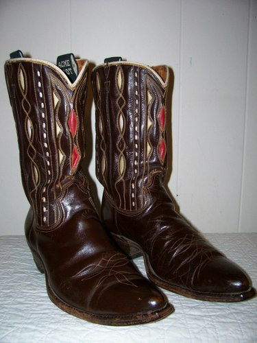 Vintage Acme Boots - Brown with colorful inlays