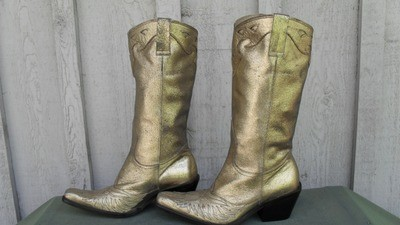 Gold Nine West Rockstar Boots!