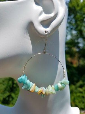 Amazonite Hoop Earring 1 1/2