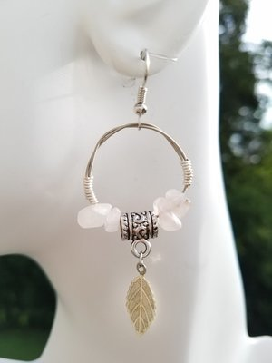 Rose Quartz Hoop Earring 1