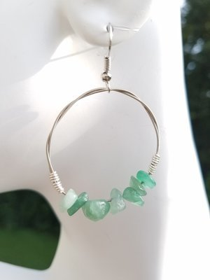 Adventurine Hoop Earring 1 1/2