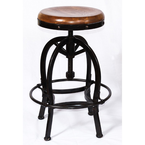 Adjustable Barstool with Wooden Seat